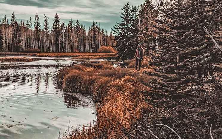 girl walking by aspen mirror lake in dixie national forest, utah